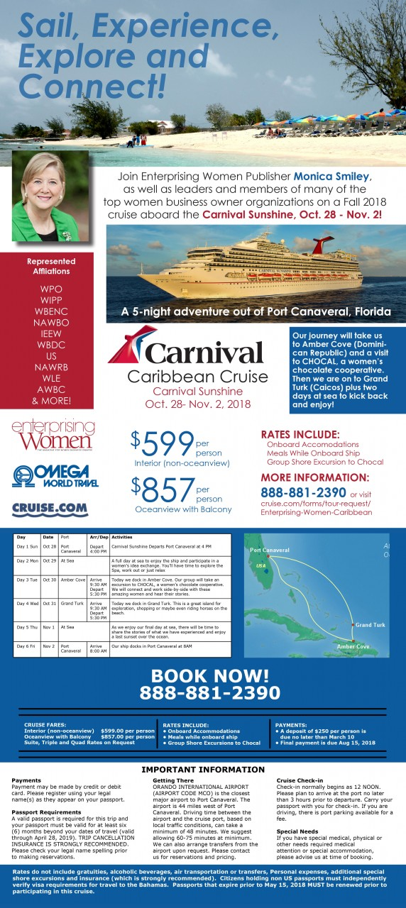 [INFOGRAPHIC]Join Enterprising Women Publisher Monica Smiley on a 5-day cruise this fall!